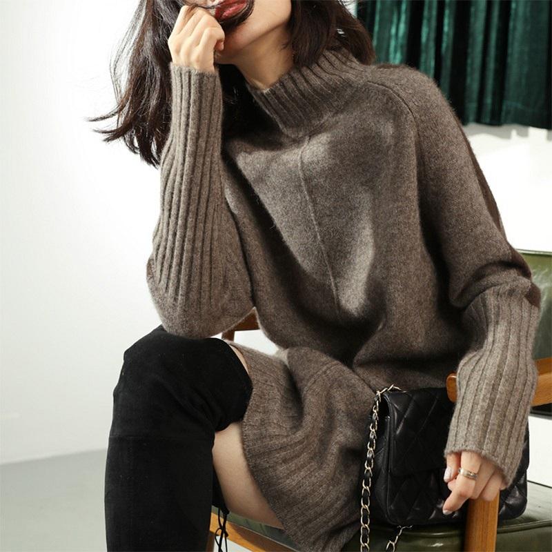 20新款韩版时尚长款羊毛衫加厚针织包臀女休闲慵懒羊绒毛衣外套
