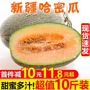 甘福园 新疆哈密瓜10斤新鲜当应季水果脆甜网纹香蜜瓜一整箱包邮