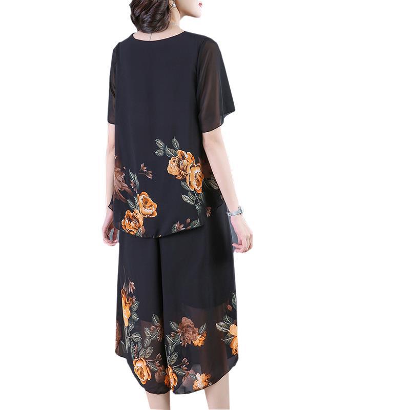 中年妈妈夏装2020新款套装洋气上衣服中老年女短袖50岁春装两件套