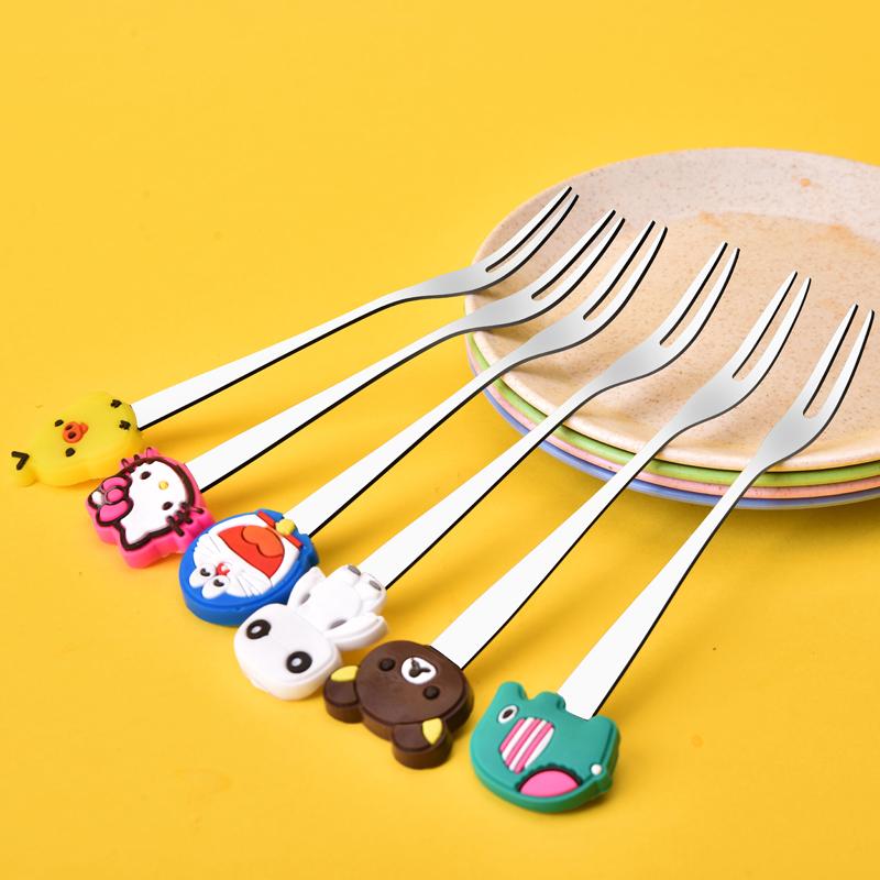 宝宝水果叉子不锈钢儿童安全创意可爱卡通动物家用扎水果签果套装