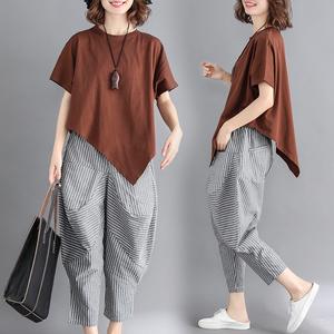 大码女装适合胖女人穿的套装显瘦两件套洋气胖妹妹夏季新款2021潮