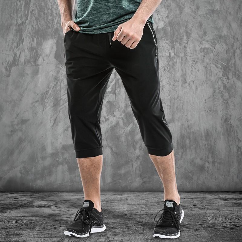 轩尧耐克泰型格速干运动七分裤男夏季薄款弹力健身裤晨跑训练中裤