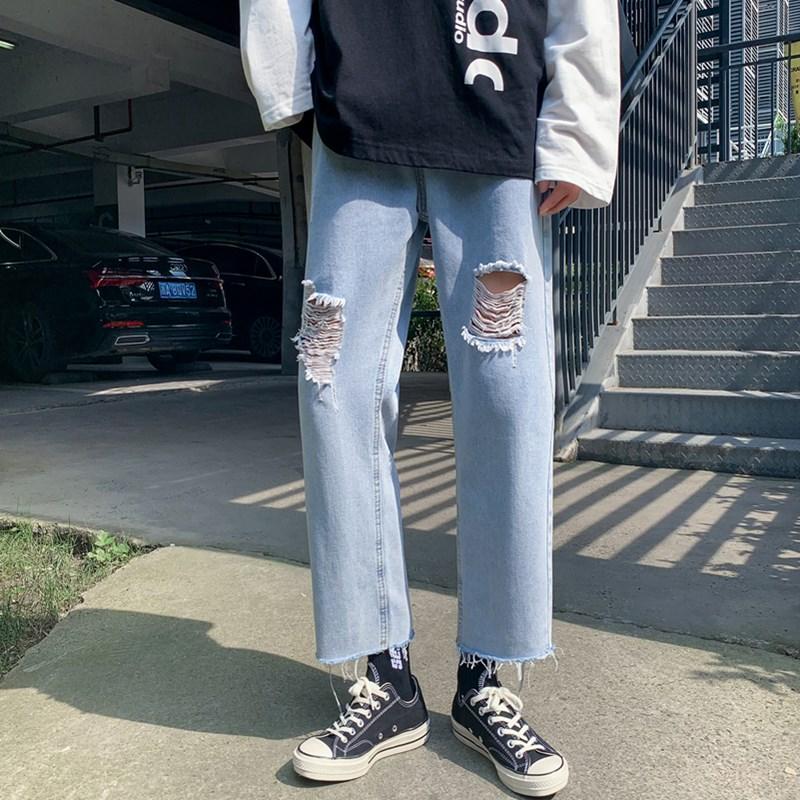 男款新款港风精品牛仔裤破洞休闲男女裤子714-2-x912-p45k