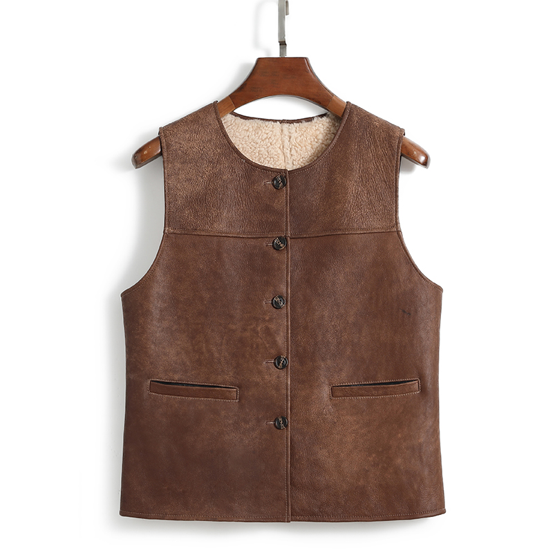 Shaoxi real fur vest womens middle-aged and elderly fashion warm real fur integrated waistcoat Korean casual vest