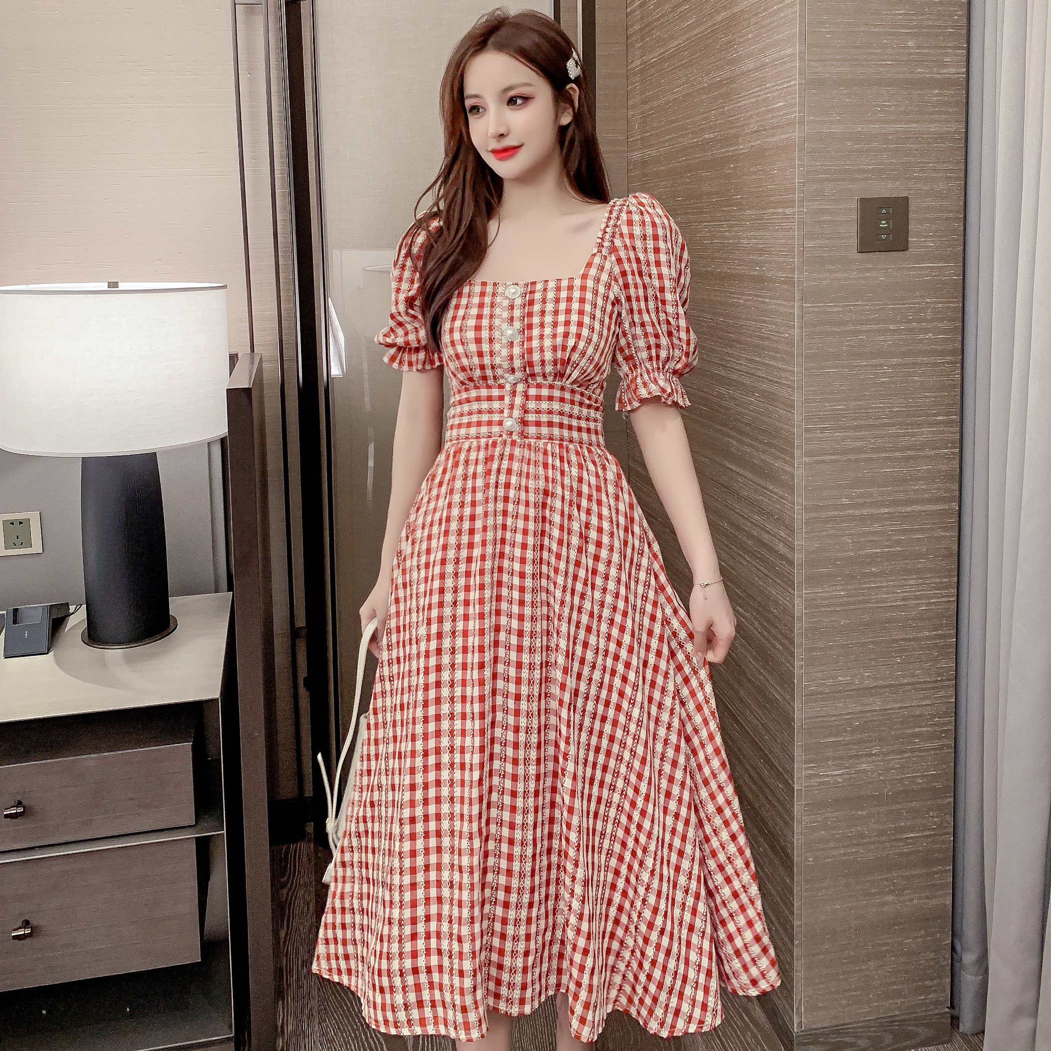 2020 summer new womens dress with foreign style bubble sleeve dress