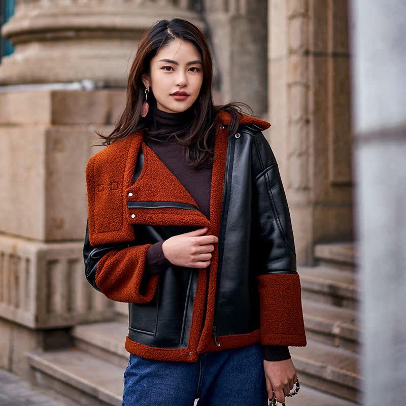 设计师品牌冬季爆款推荐帅气短款焦糖色泰迪绒夹克外套 女装上衣