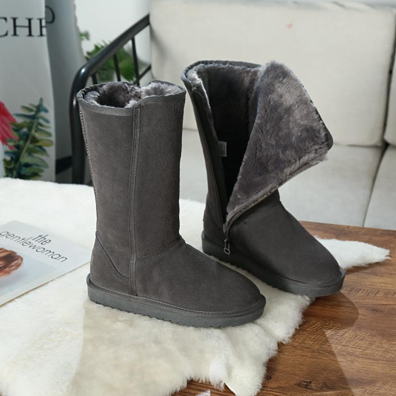 新款高筒雪地靴女2020新款侧拉链牛皮长筒靴加绒加厚保暖户外棉靴