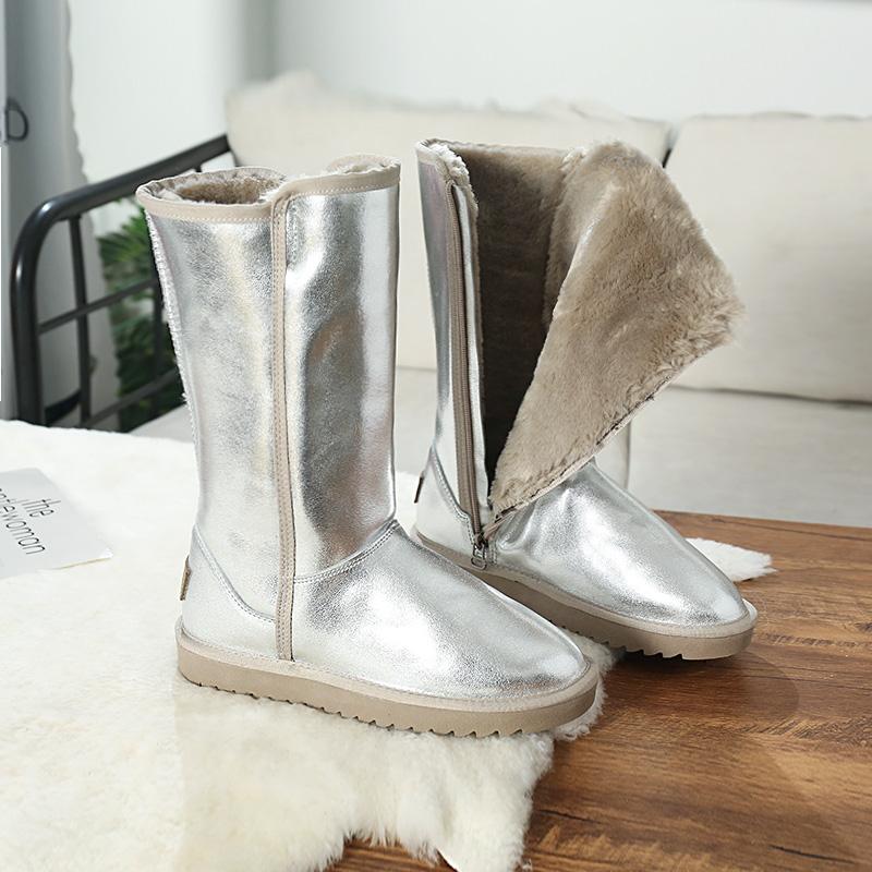 牛皮防水雪地靴女高筒靴2020新款侧拉链加绒保暖长筒靴加厚棉靴子
