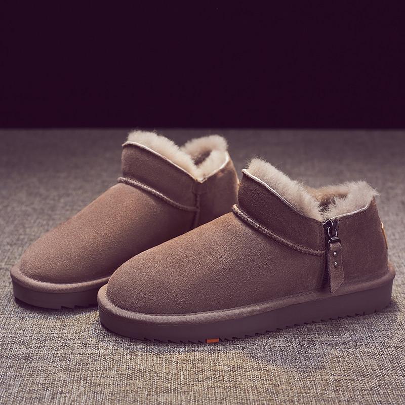Snow boots women 2020 new short tube zipper fur one winter Plush bread shoes womens low top anti slip cotton shoes