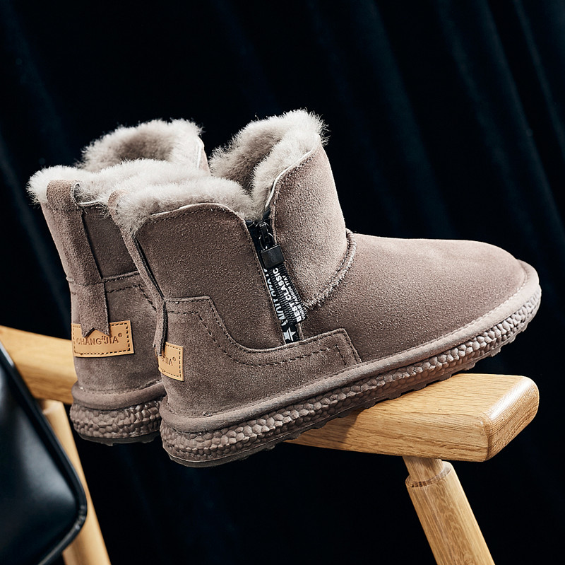 Snow boots women 2020 winter new fashion Plush warm wool cotton shoes thickened fur one short zipper