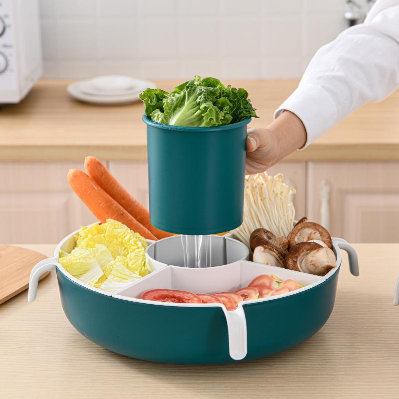 双层火锅拼盘沥水篮大号家用厨房洗菜盆蔬菜水果塑料分格收纳篮子