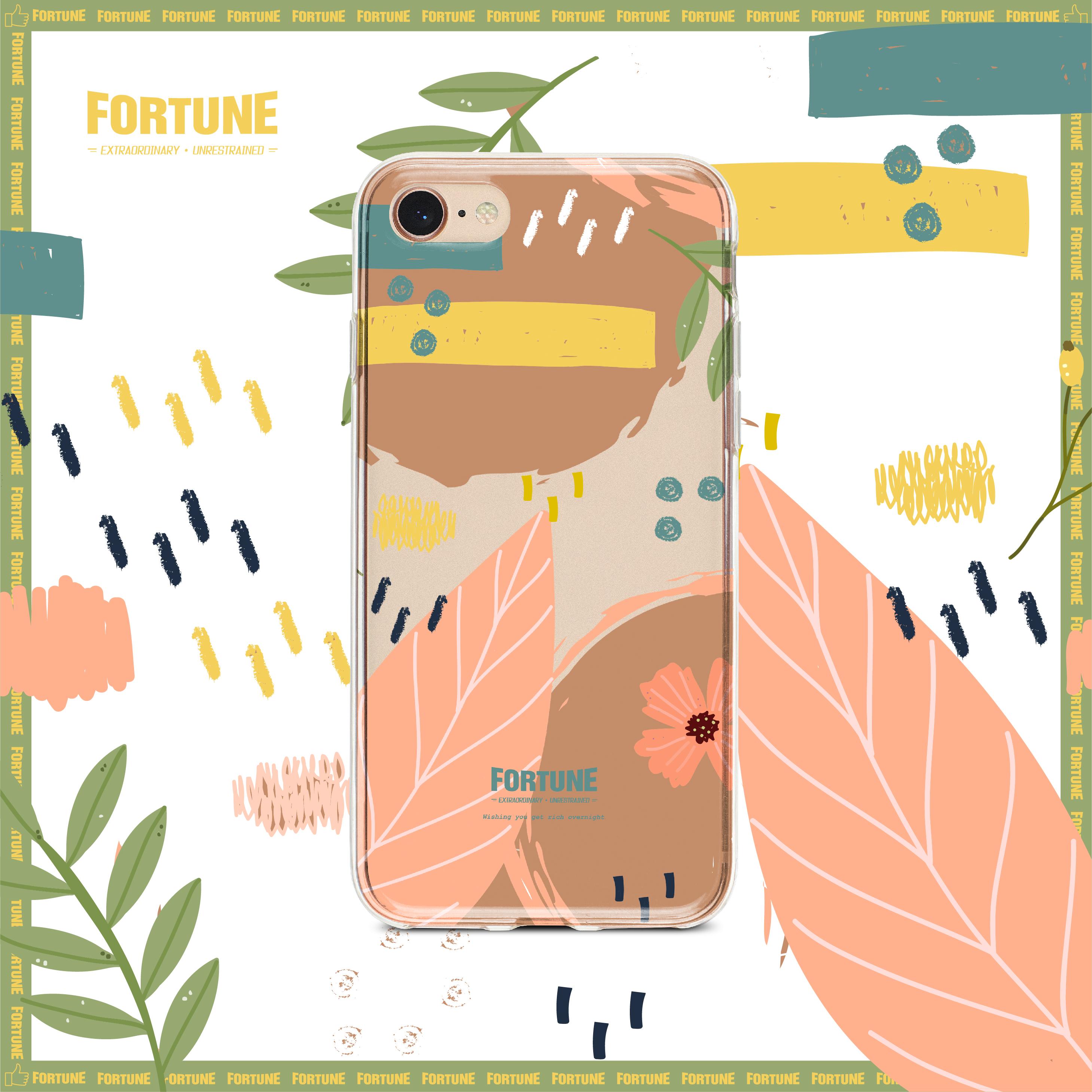 【FORTUNE】原创抽象水彩ins风涂鸦透明手机壳iphone11PRO MAX XR