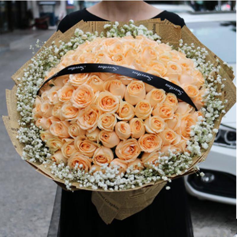 99朵香槟瑰鲜花求婚生日礼物沈阳市广州郑州长春全国同城速递配送
