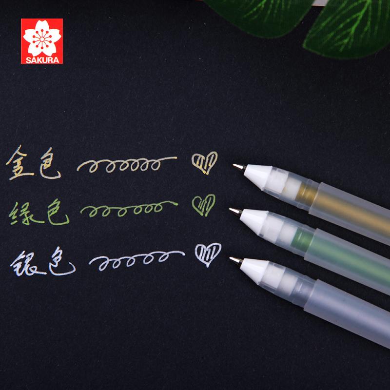 日本sakura樱花高光笔画画套装手绘设计高光黑卡笔波晒笔金色银色白色油性油漆笔高光勾线绘画笔白色记号笔
