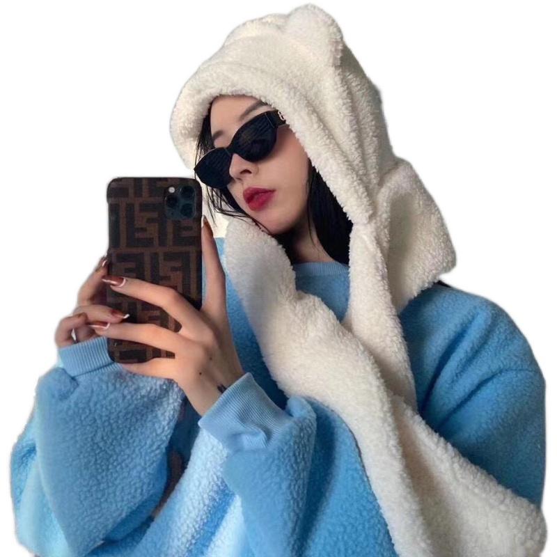 小熊耳朵围巾帽子一体手套连帽围脖女冬金智妮Jennie同款可爱保暖
