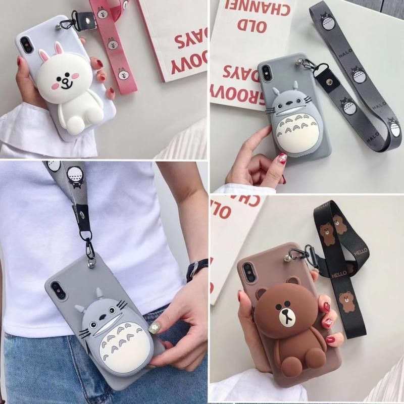 布朗熊华为p30卡通龙猫挂绳手机壳15.80元包邮