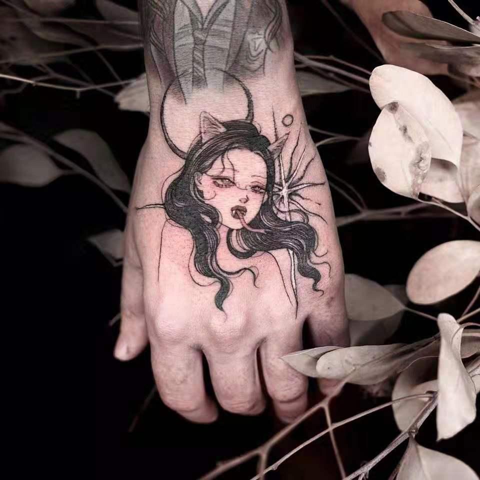 (用0.5元券)西街Girl 纹身贴防水女持久网红款纹身贴暗黑系纹身贴永久 1年