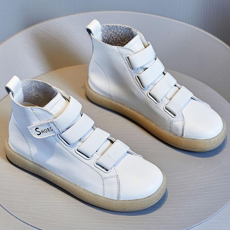 JY真皮女鞋秋季2020新款韩版休闲单鞋魔术贴高帮鞋头层牛皮小白鞋