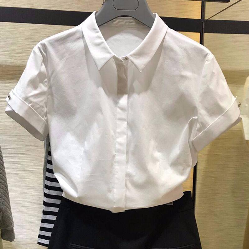 阿玛施旗舰店官网2020春夏新款女装正品代购职业短袖白色衬衫衬衣