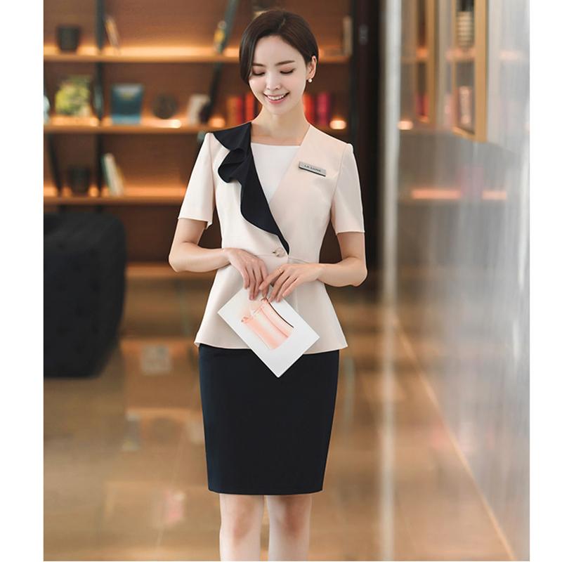 夏季新韩版职业套装裙4S店销售导购化妆专柜整形美容医院工作服女