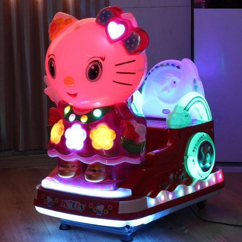 2020新款商用儿童电动投币玩具水晶猫摇摇车超市小孩店音乐摇摆机