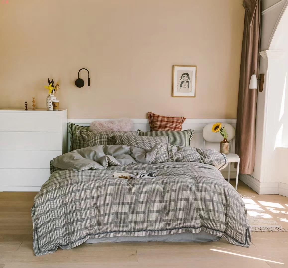 阿尔巴卡千鸟格套件全拉绒磨毛床单被套冬季加厚复古床品棉简约