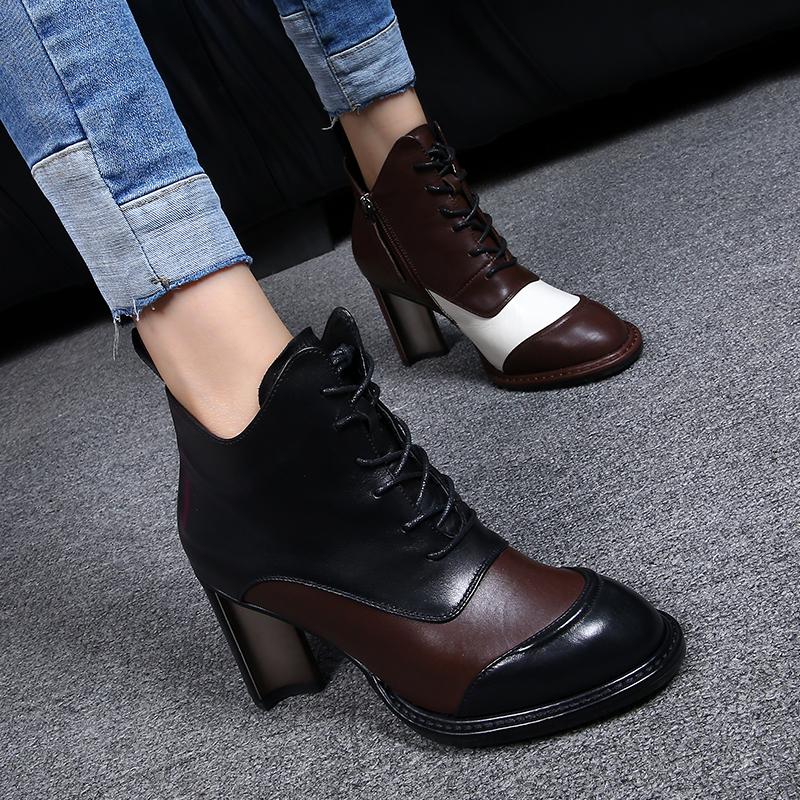 欧洲站马丁靴女2019新款前系带真皮圆头复古高跟鞋加绒粗跟短靴女