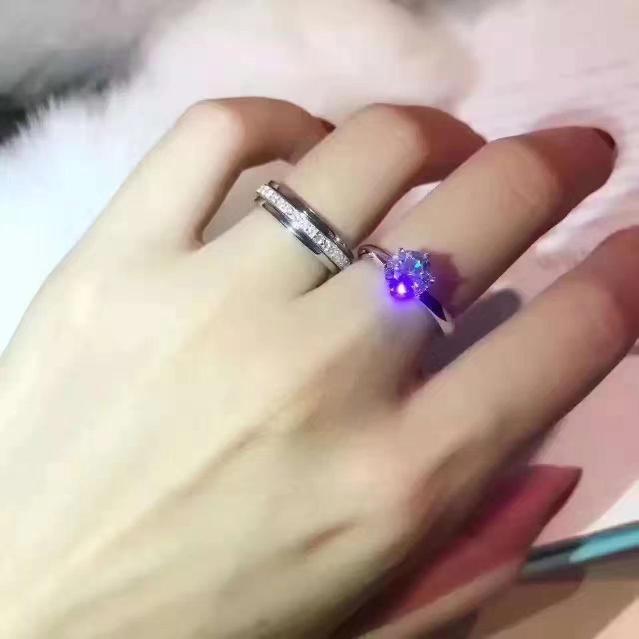 High end custom 925 silver classic six claw one carat two carat diamond ring fashion wedding ring female