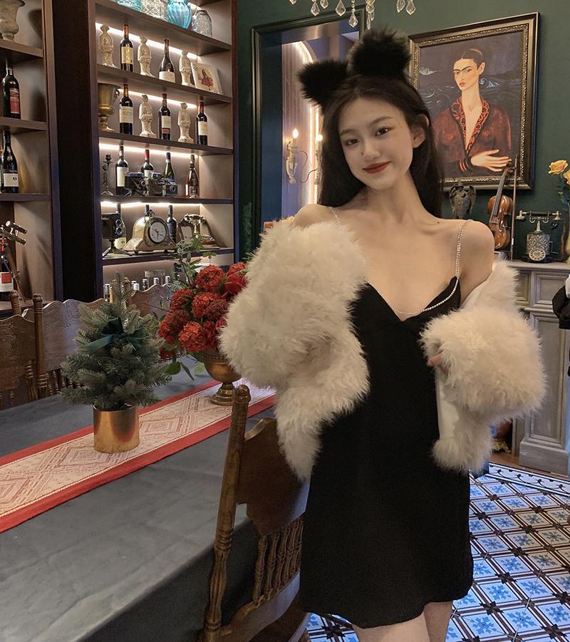 2021 summer new price control winter new diamond necklace sling Black Mini Dress