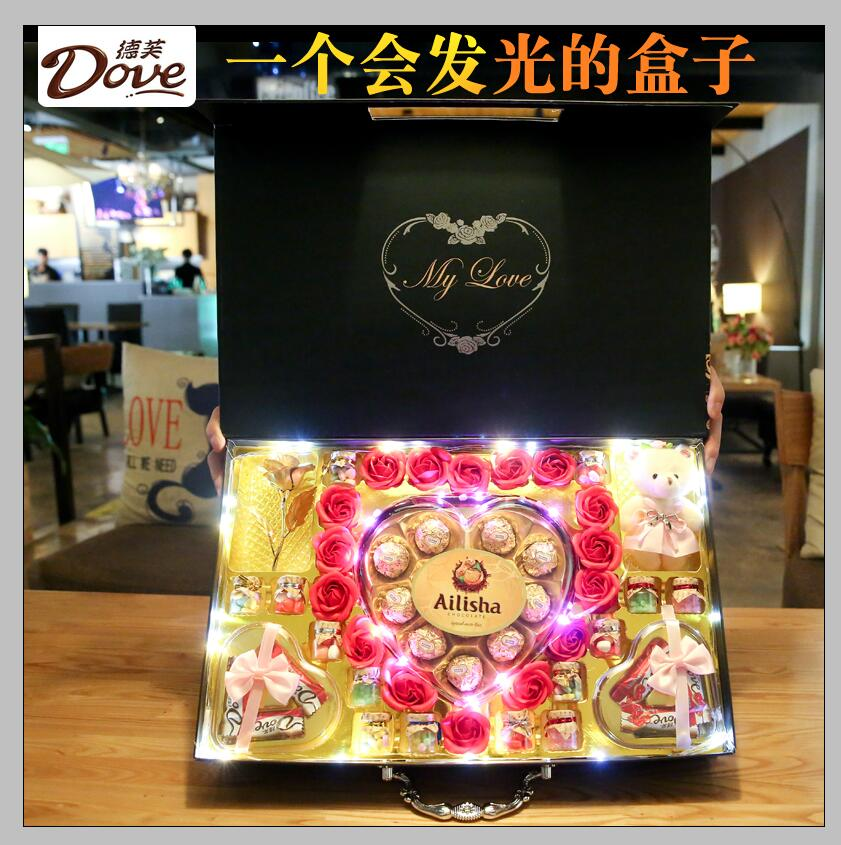 德芙巧克力礼盒装糖果情人节礼物送女友女生日送闺蜜浪漫表白创意