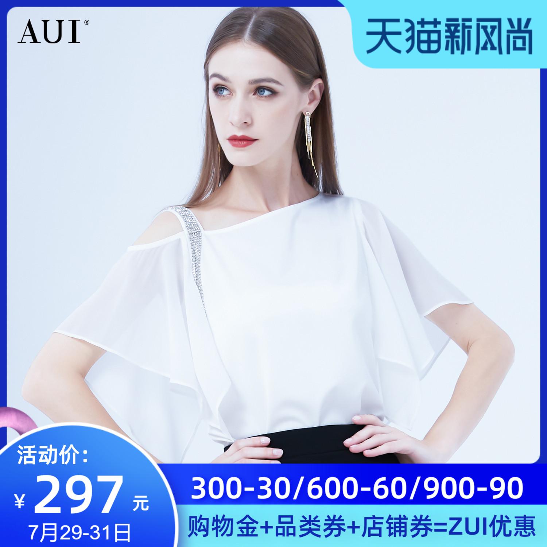 AUI白色设计感小众雪纺衫夏季2021新款时尚气质不规则露肩上衣女