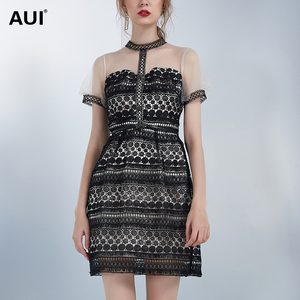 aui蕾丝拼接网纱连衣裙女夏2021新款女装原创设计感小众黑色裙子