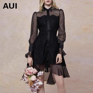 aui不规则荷叶边裙子女2019新款时尚女装黑色雪纺拼接蕾丝连衣裙