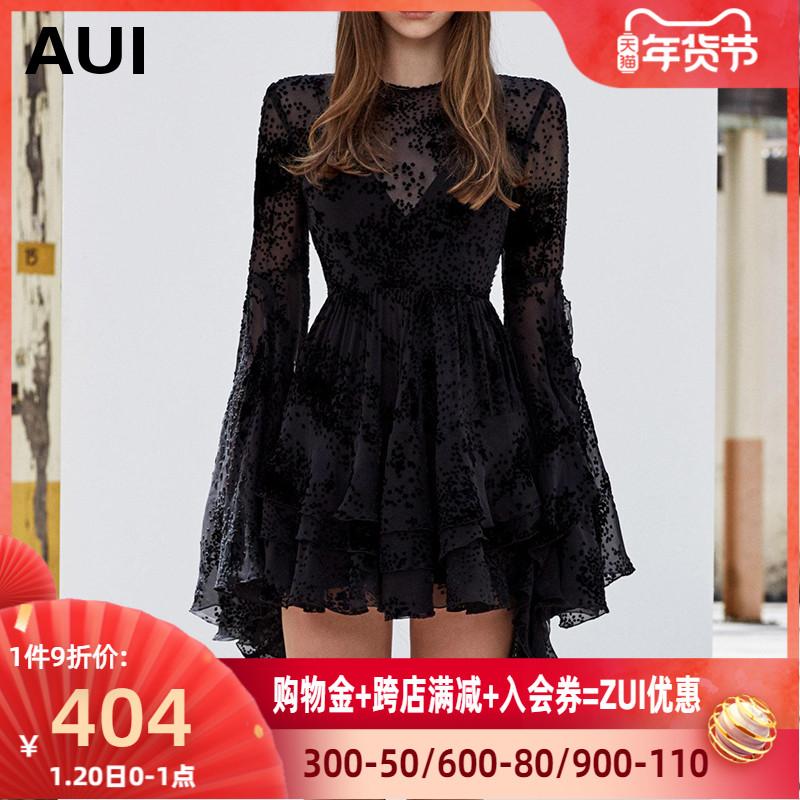 欧洲站小黑裙女2020年春装新款欧美风女装裙子欧货黑色雪纺连衣裙