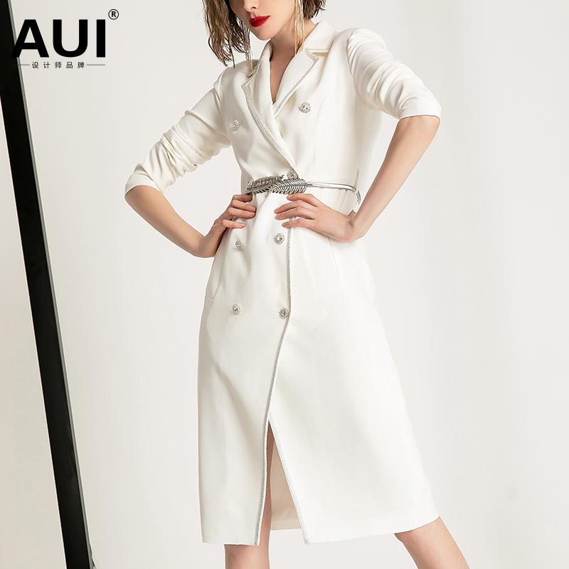 白色西装外套女设计感小众中长款2020秋冬新款女装气质西服风衣潮