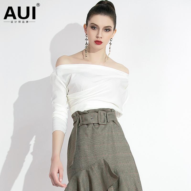 2020新款女装一字肩性感露肩上衣白色气质衬衫女夏设计感小众t恤