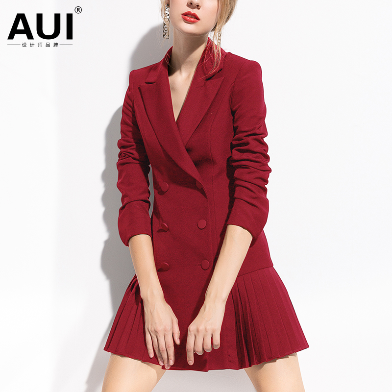 AUI Europe station professional Blazer coat women design sense small crowd 2019 new women's red formal suit suit suit