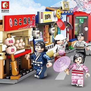 森宝积木街景樱花树云赏武汉樱花小吃街男孩女孩子玩具模型601078