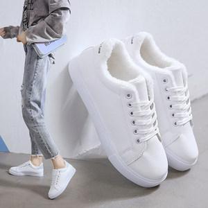 2019新款冬季加绒小白鞋女韩版百搭保暖加厚棉鞋平底板鞋学生潮鞋