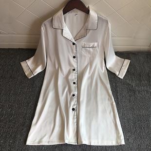 睡裙女夏季 衬衣式 性感睡衣女冰丝绸薄款 韩版 白色衬衫 2020新款 开衫