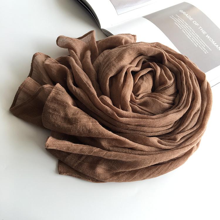 咖啡色纯棉麻围巾女士春秋冬季亚麻薄款百搭2018新款韩版丝巾纱巾