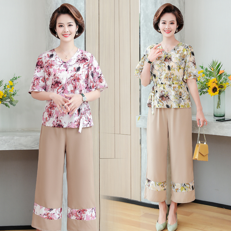 Mothers Day Womens summer clothes for the middle-aged and the elderly 40 aunt short sleeve suit 50-60 years old summer clothes.