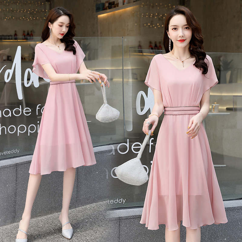 Spring and summer 2020 womens dress trend comfortable simple fashion medium long solid color with chiffon fabric