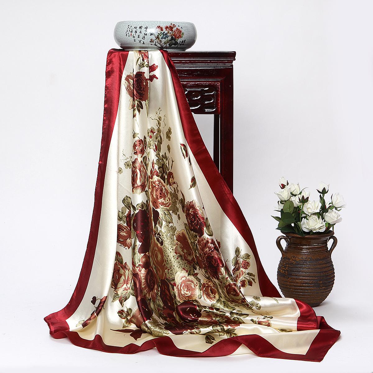 杭州丝绸高档围巾90大方巾丝巾冬季女士围巾结婚回礼出国小礼物