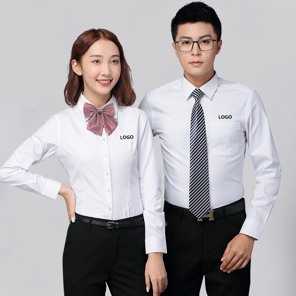 Professional shirt, mens long sleeve work clothes, autumn cotton shirt, mens and womens Bank dress, tooling, customized embroidery logo