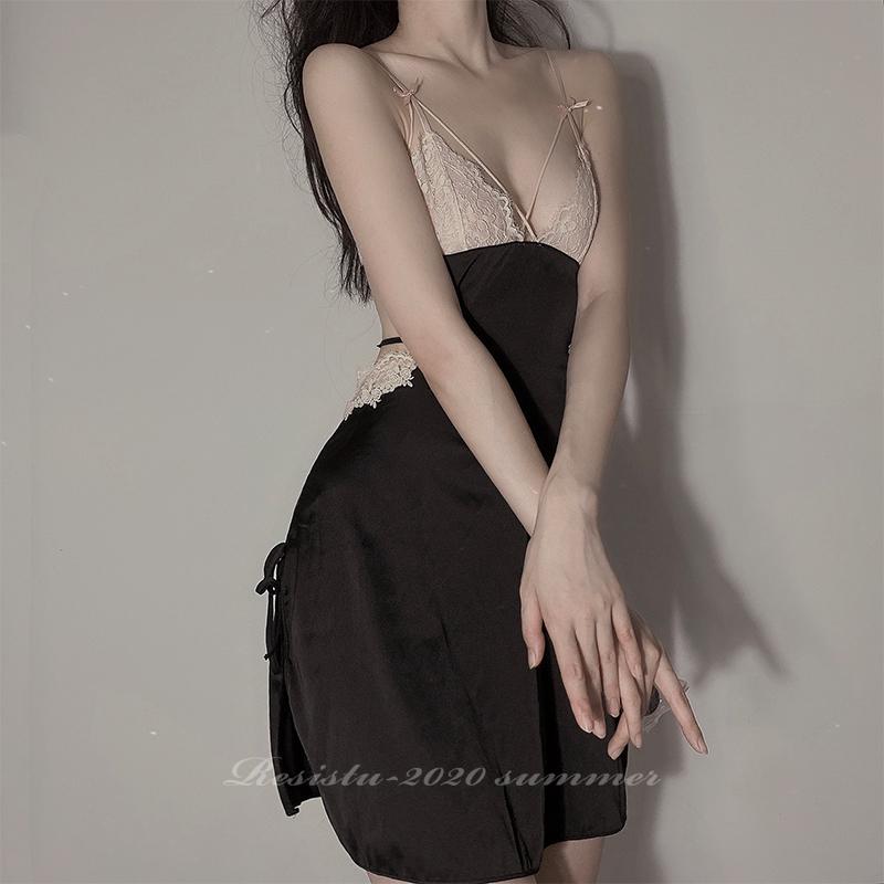 RESISTU 梦中情人 私房火辣蕾丝美背绑带春夏吊带睡裙睡衣女性感