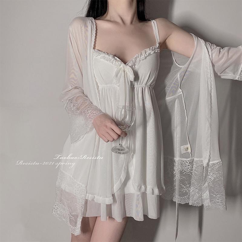 RESISTU 椰椰奶冻 睡衣蕾丝边网纱少女2021春夏新款吊带睡裙睡袍