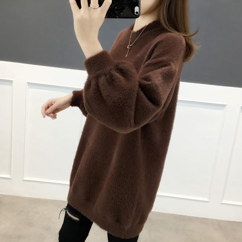 中长款仿水貂绒加厚毛衣女宽松外穿2019秋冬新款套头洋气针织衫