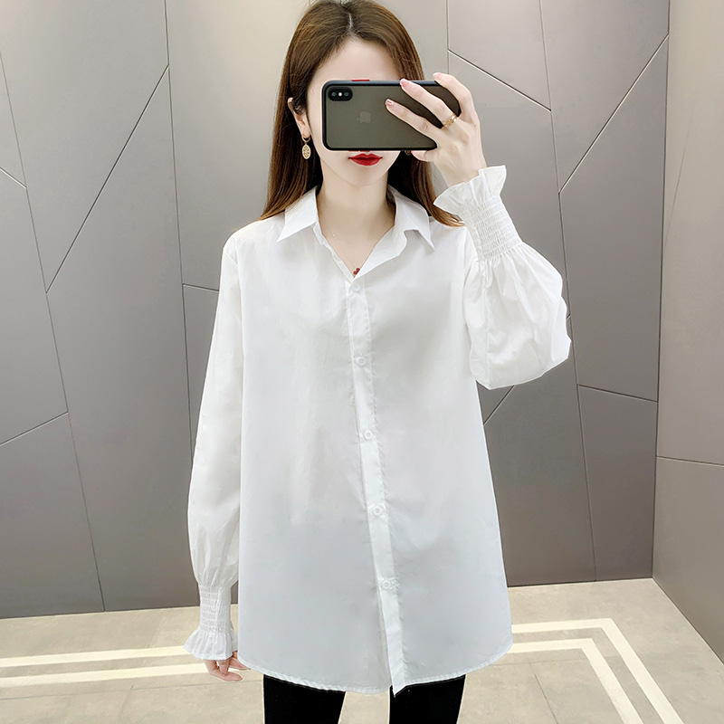 Shirt female 2021 spring and summer new long sleeve solid anti wrinkle drape feeling loose and versatile personality high end white shirt
