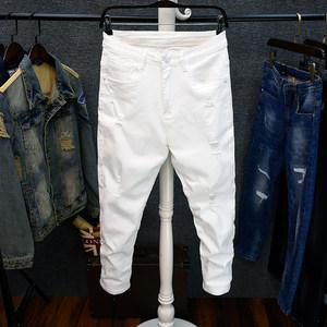 潮破洞白色裤子男九分裤韩版修身 纯白色9分裤大码牛仔裤男简约款